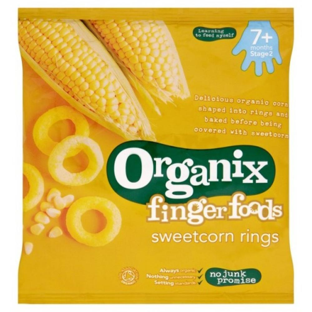 Organix Finger Foods Sweetcorn Rings 20g