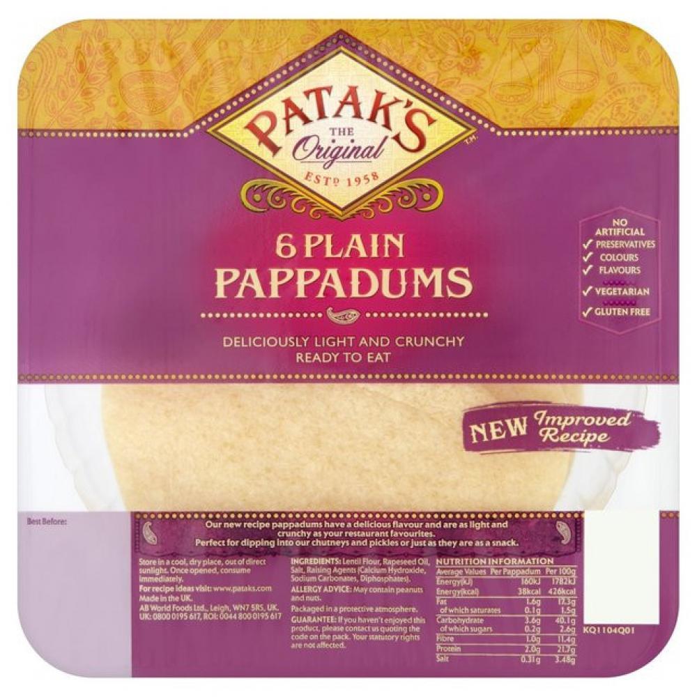 Pataks 6 Plain Pappadums