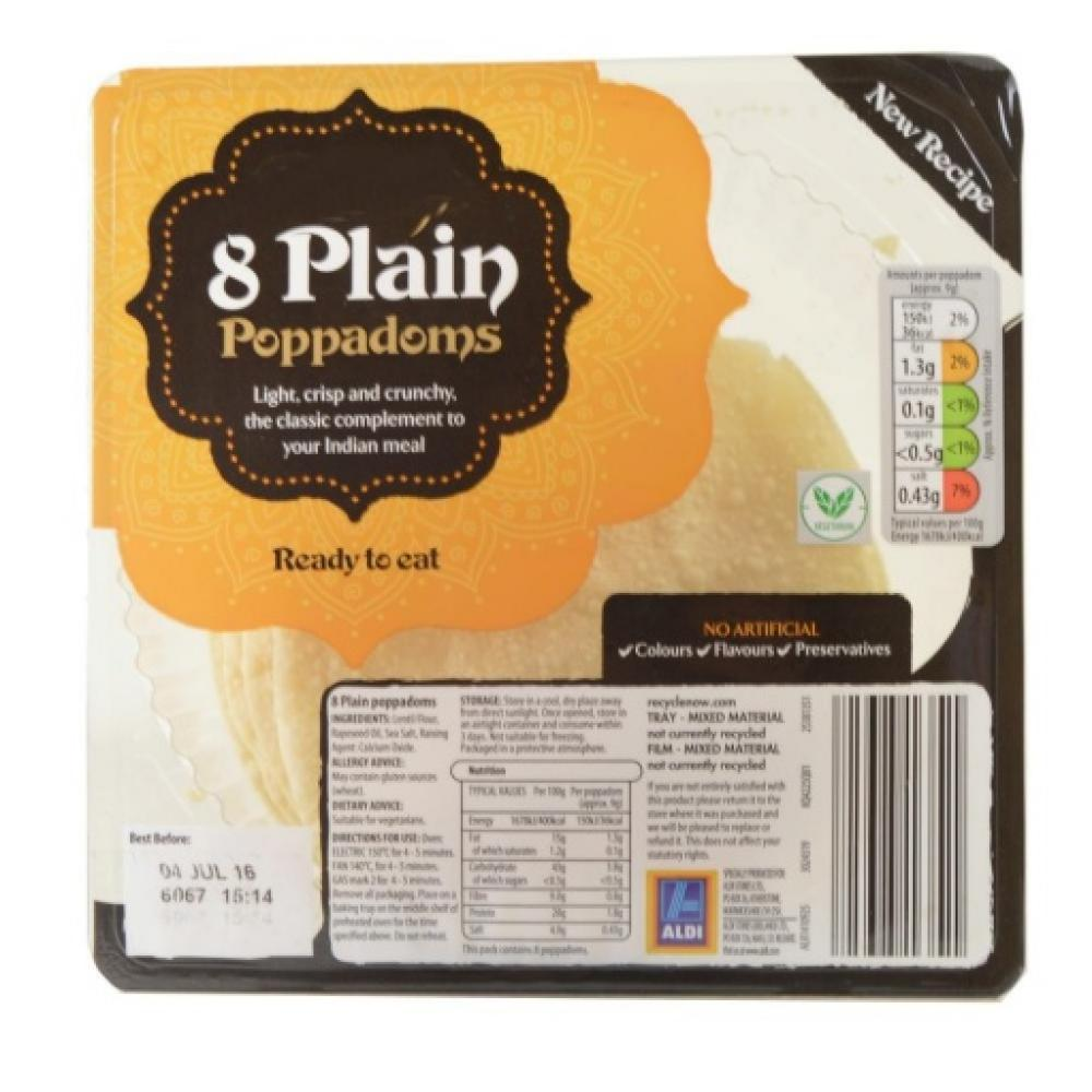 Perfectly Good 8 Plain Poppadoms