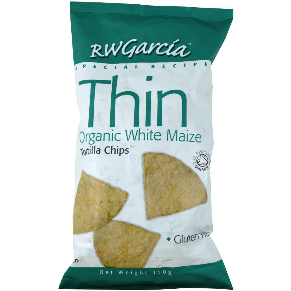 R W Garcia Thin Organic White Maize Tortilla Chips 150g