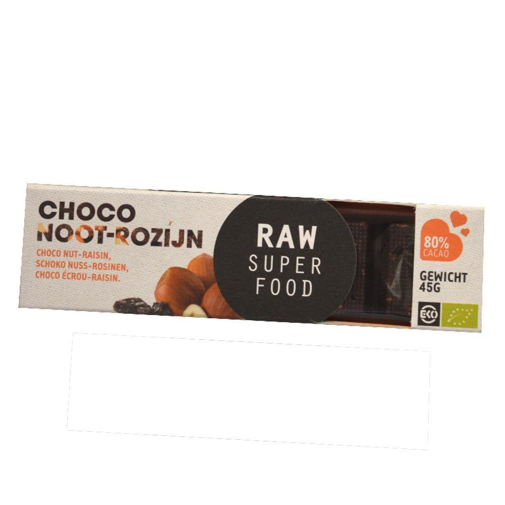 Raw Organic Choco Noot-Rozijn 45g