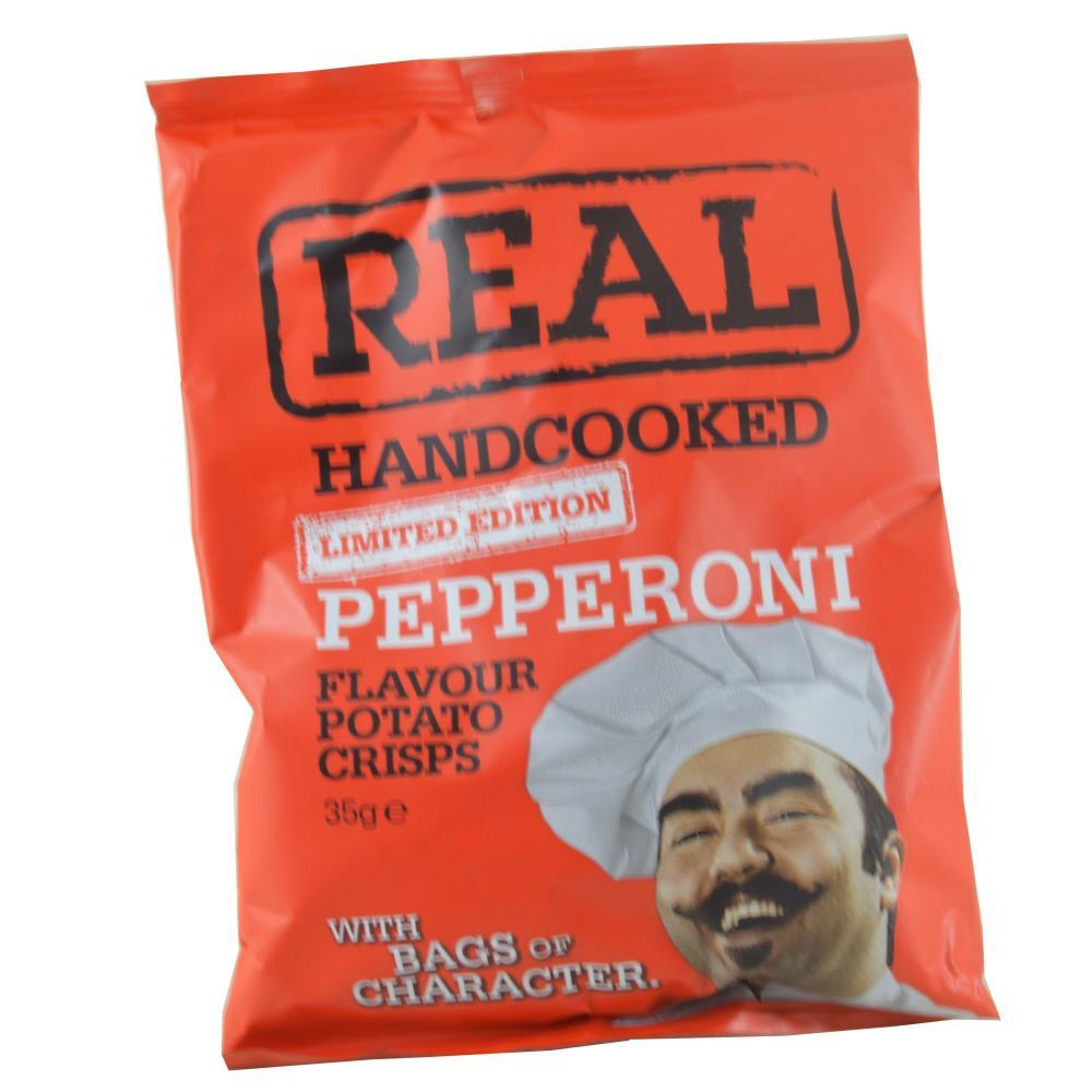 Real Real Handcooked Pepperoni Flavour Potato Crisps 35g 35g