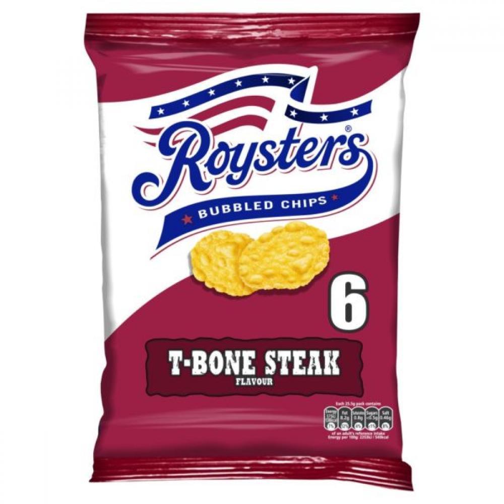 Roysters T Bone Steak Flavour Crisps 25.5g x 6