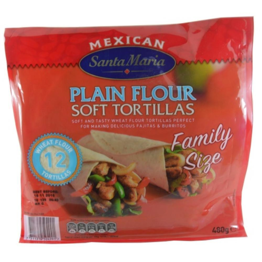 Santa Maria 12 Plain Flour Soft Tortillas Family Size 480g