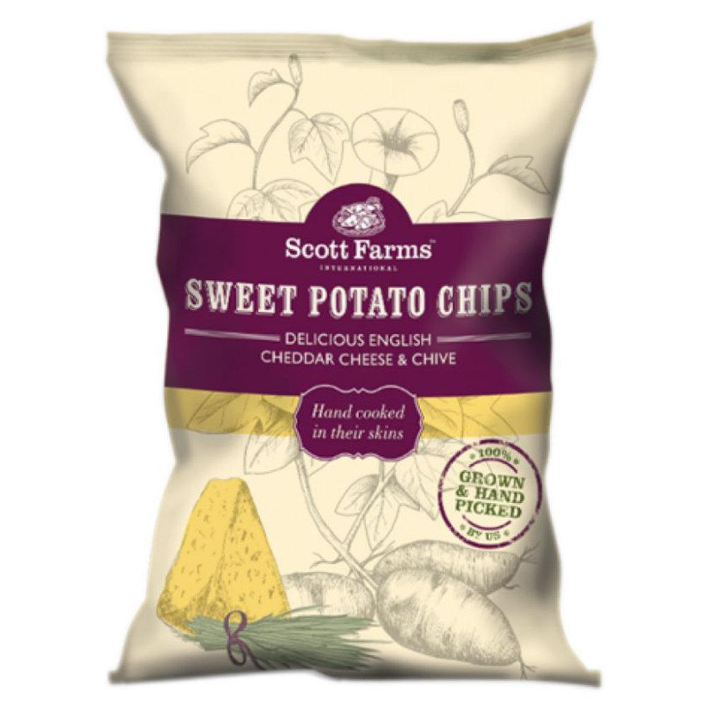 Scott Farms Sweet Potato Chips Delicious English Cheddar Cheese and Chive 40g