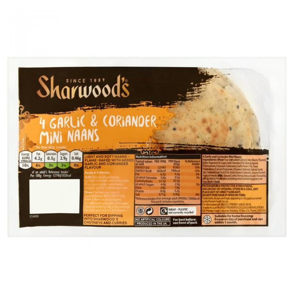 Sharwoods 4 Garlic and Coriander Mini Naans