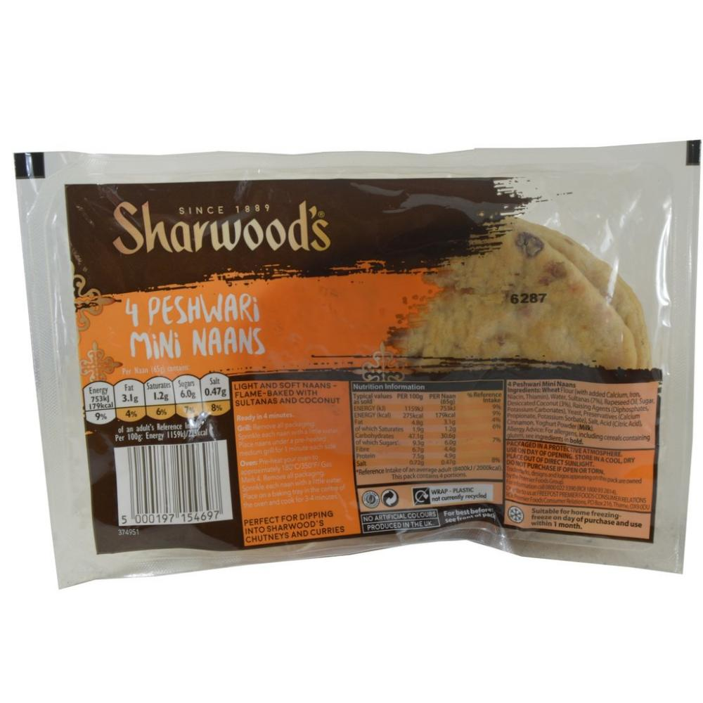 Sharwoods 4 Peshwari Mini Naans