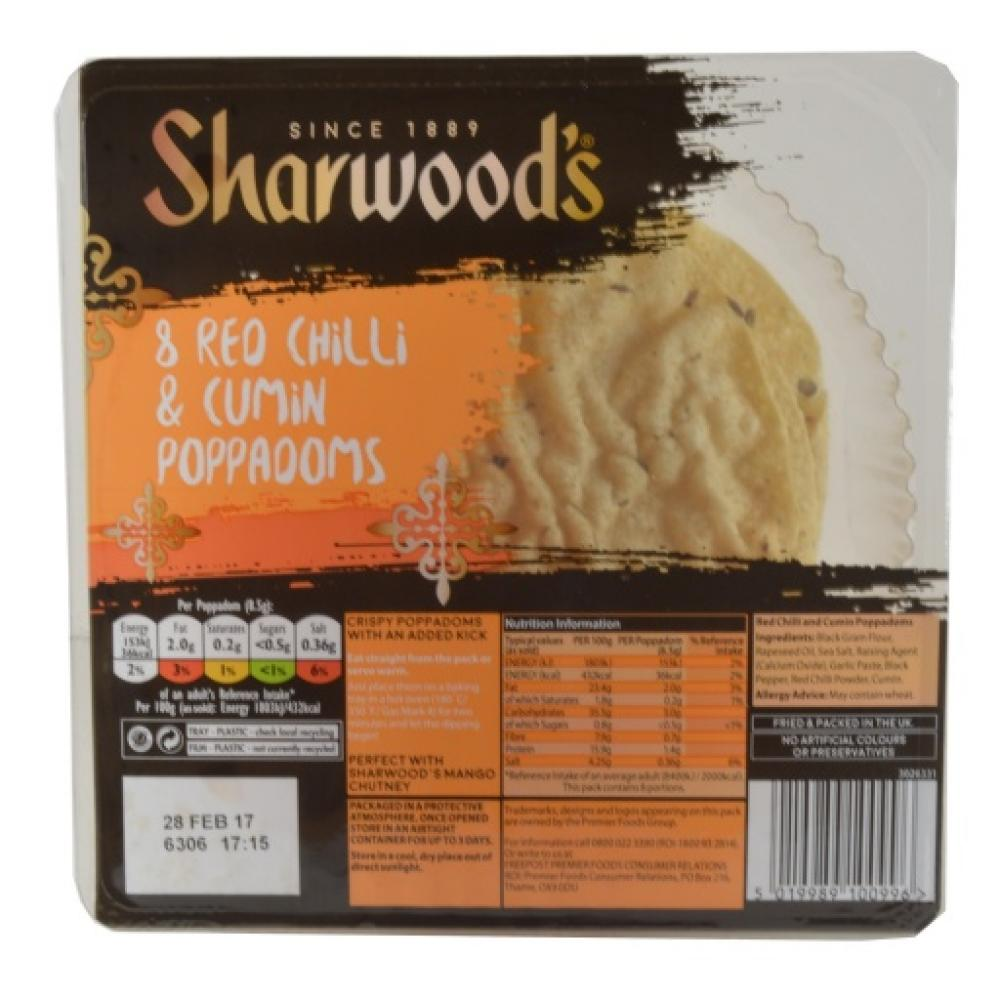 Sharwoods  Sharwoods 8 Red Chilli and Cumin Poppadoms