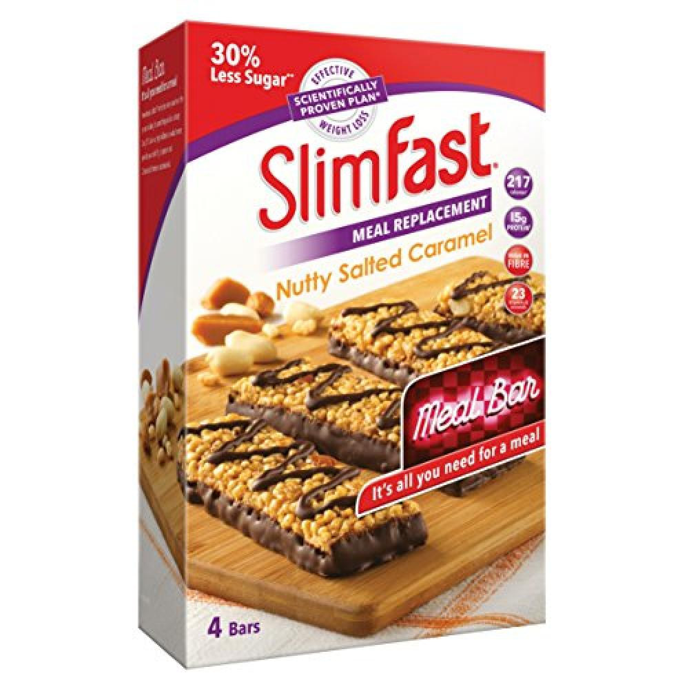 Slim Fast Meal Replacement Bar Nutty Salted Caramel 4 Bars