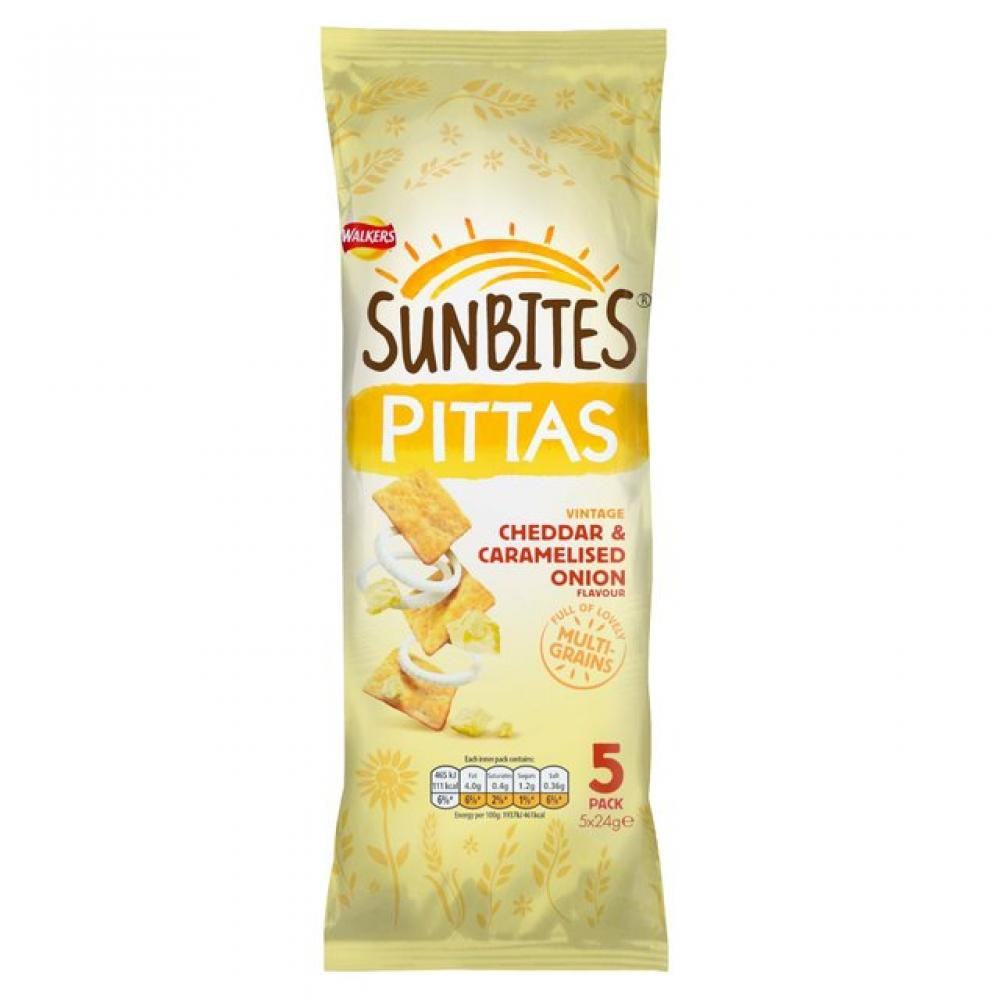 Walkers Sunbites Pittas Cheddar and Caramelised Onion Flavour 5 x 24g