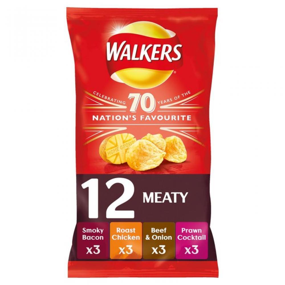 Walkers Crisps Meaty Variety 12 x 25g