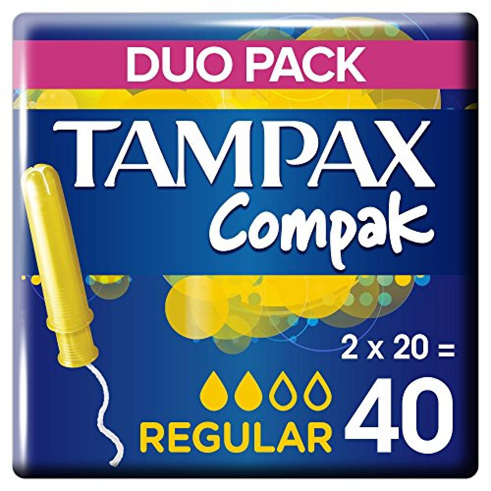Tampax Compak Regular Applicator Tampons duo pack40 Piece