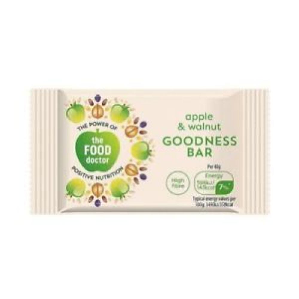 The Food Doctor Apple and Walnut Goodness Bar 40g