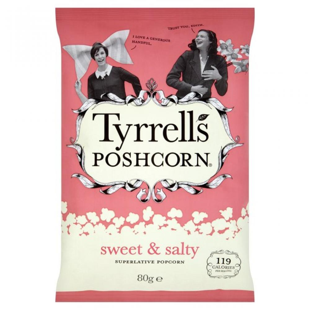 Tyrrells Poshcorn Sweet And Salty 80g