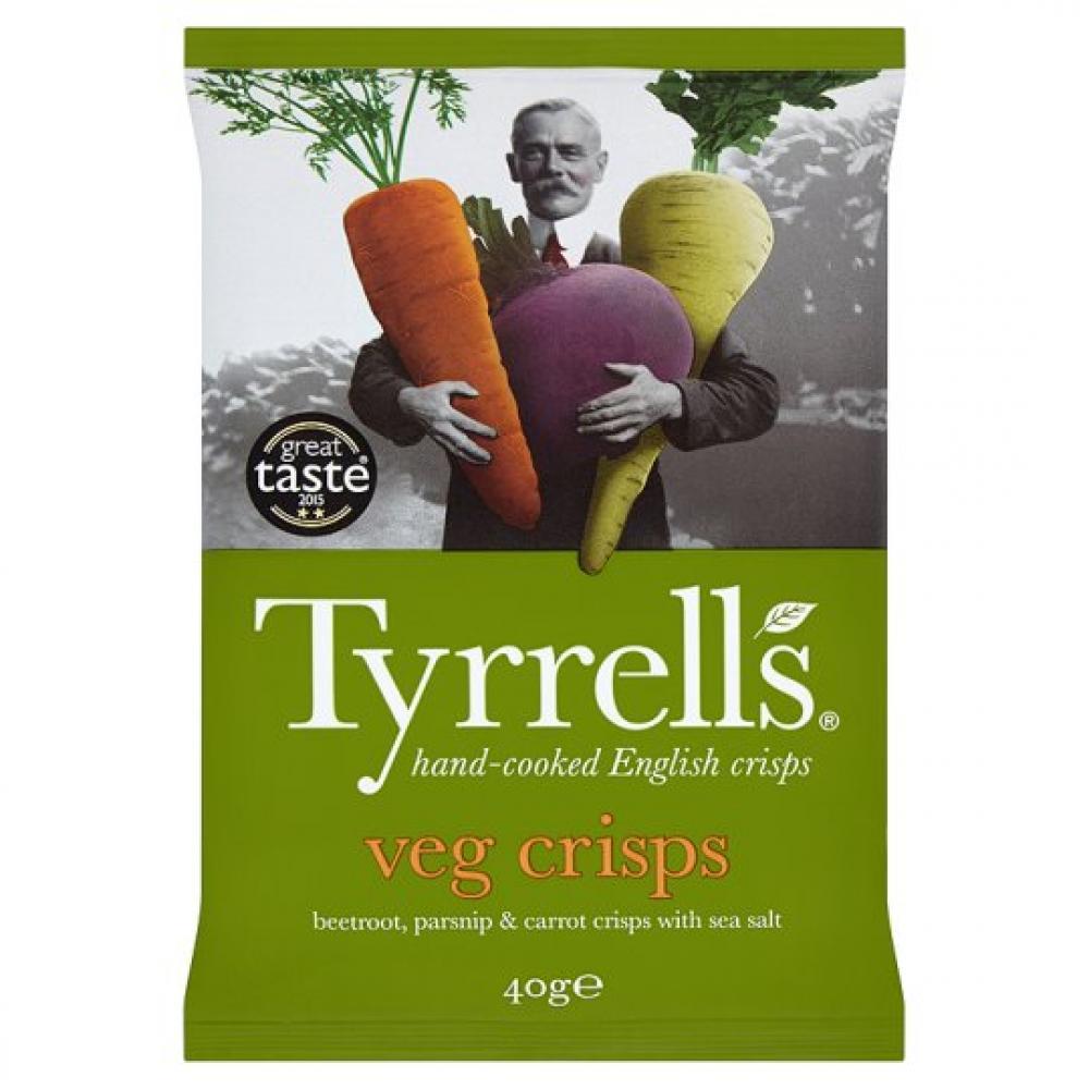 Tyrrells Tyrrells Tyrrells Veg Crisps Beetroot Parsnip And Carrot Crisps 40g 40g 40g