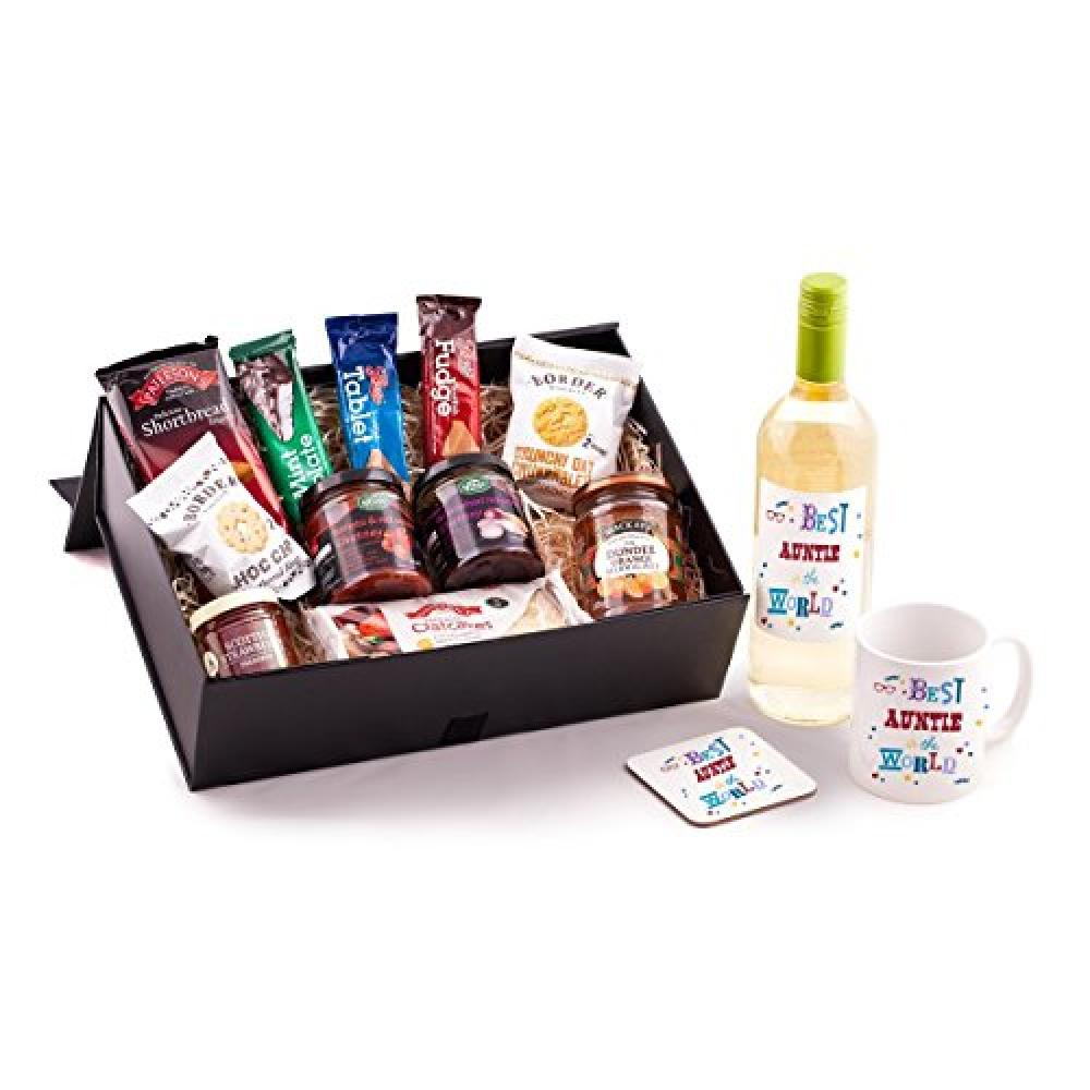 Ukgiftbox Auntie Birthday Hamper with Wine Mug and Coaster