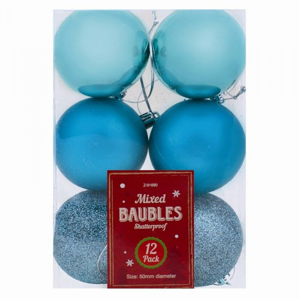 Unbranded Christmas Baubles 12 pack Turquoise
