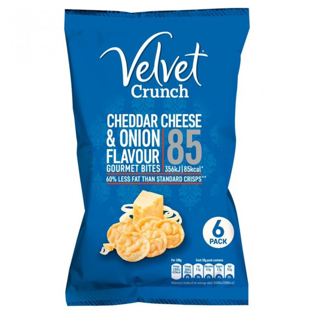 Velvet Crunch Cheddar Cheese and Onion Flavour Gourmet Bites 6 x 20g