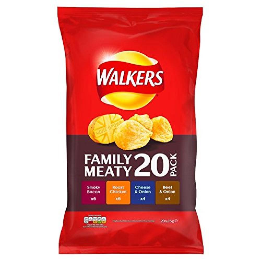 Walkers Meaty Variety Crisps 25g x 20