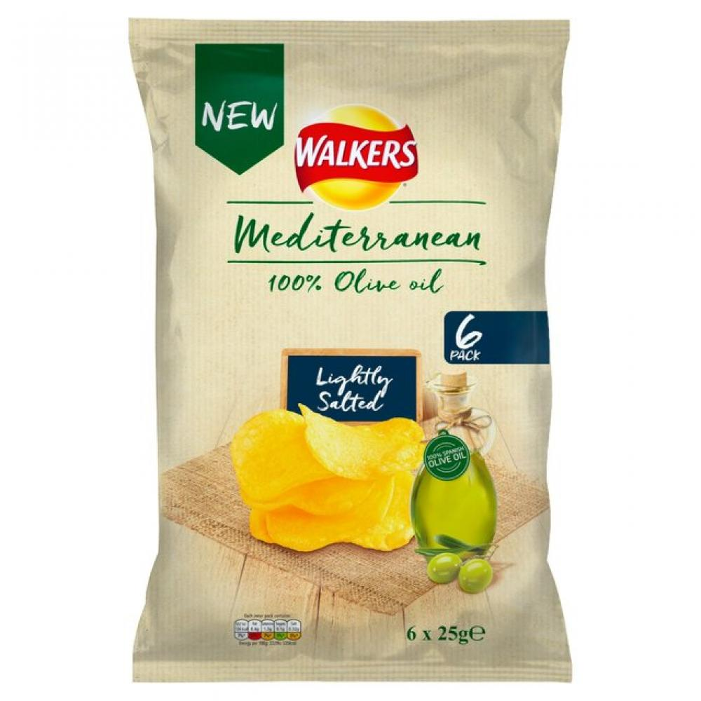 Walkers Mediterranean Lightly Salted Crisps 6 x 25g