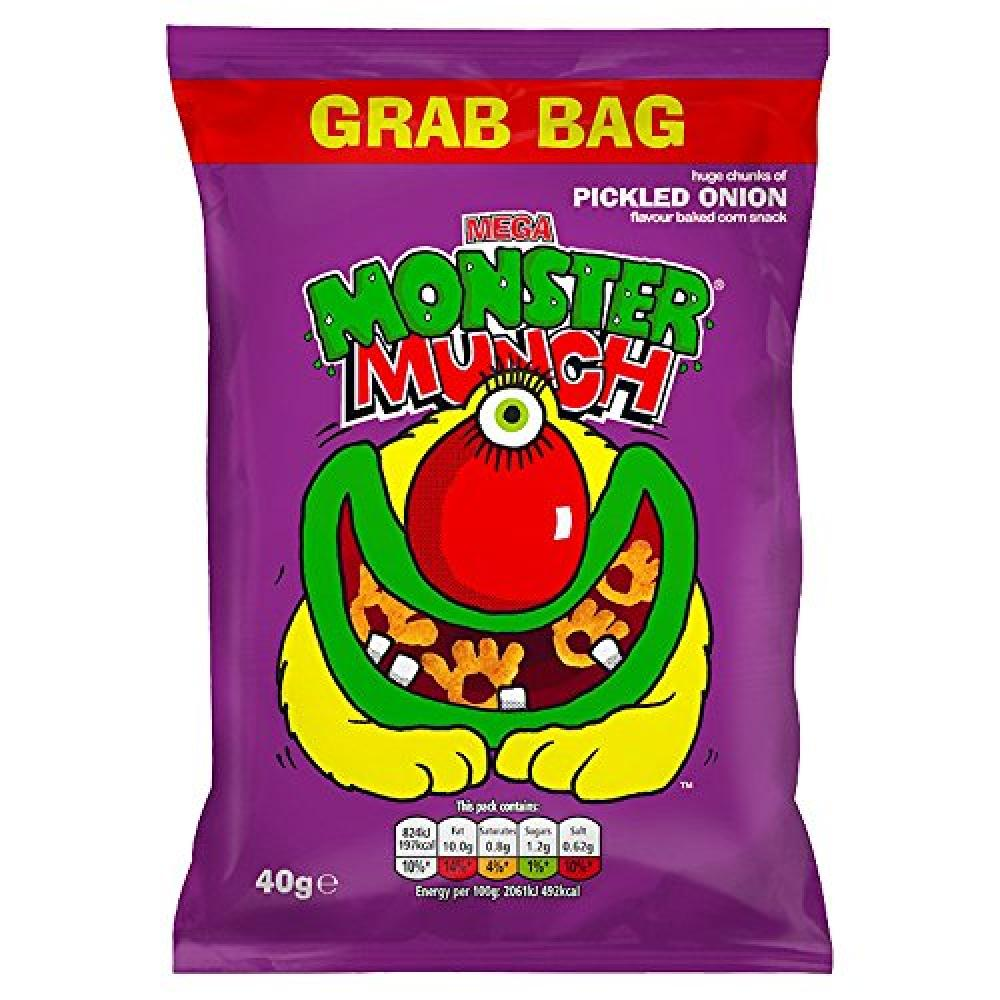 Walkers Mega Monster Munch Pickled Onion Snacks 40 g