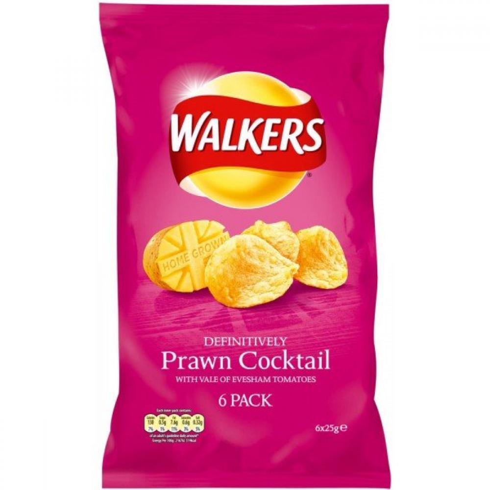 Walkers Prawn Cocktail Flavour Crisps 6 x 25g