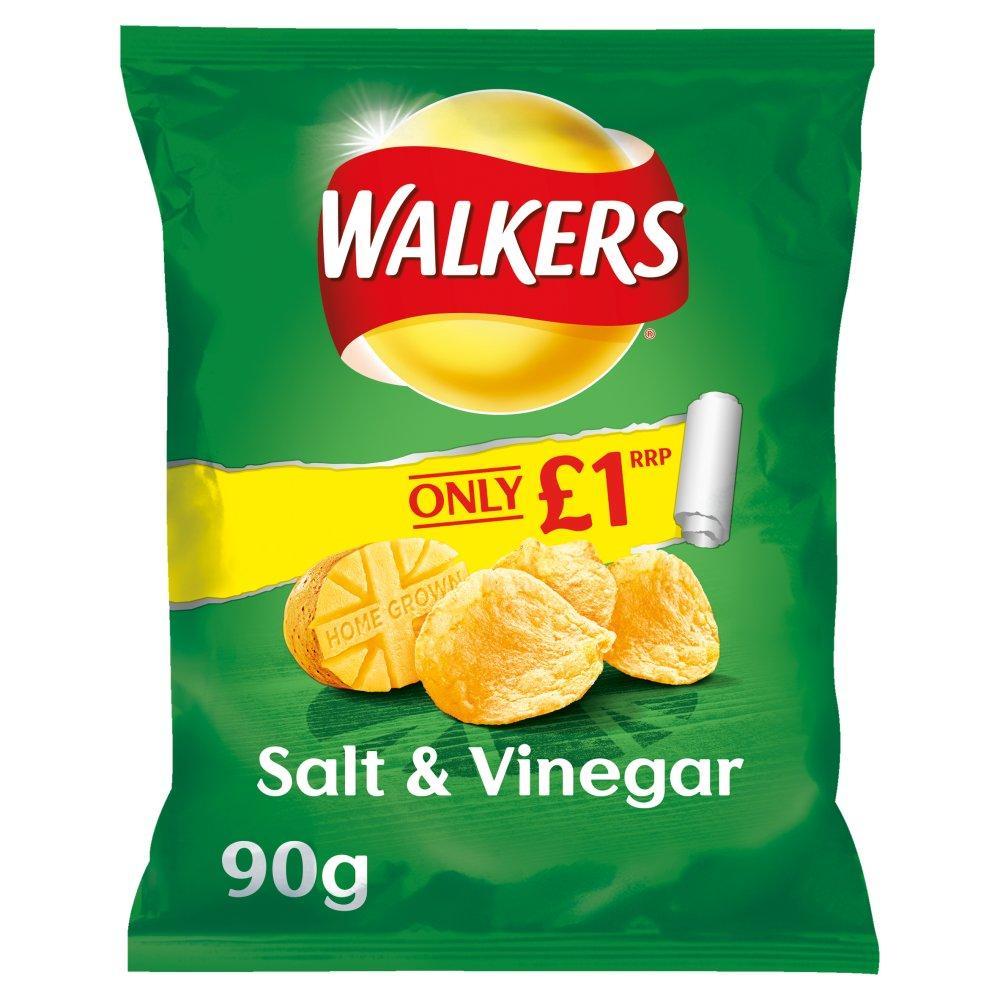 Walkers Salt and Vinegar Flavour Crisps 90g
