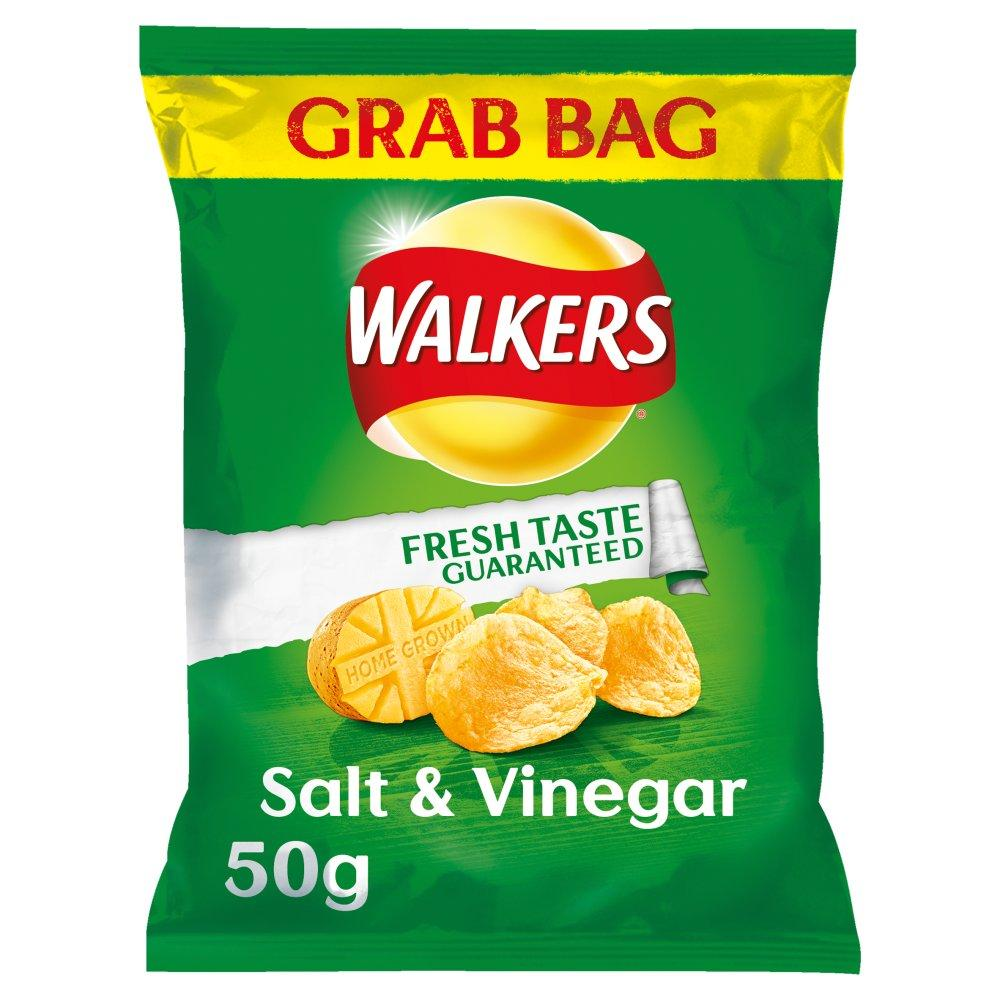 Walkers Salt And Vinegar Flavour Crisps Grab Bag 50g