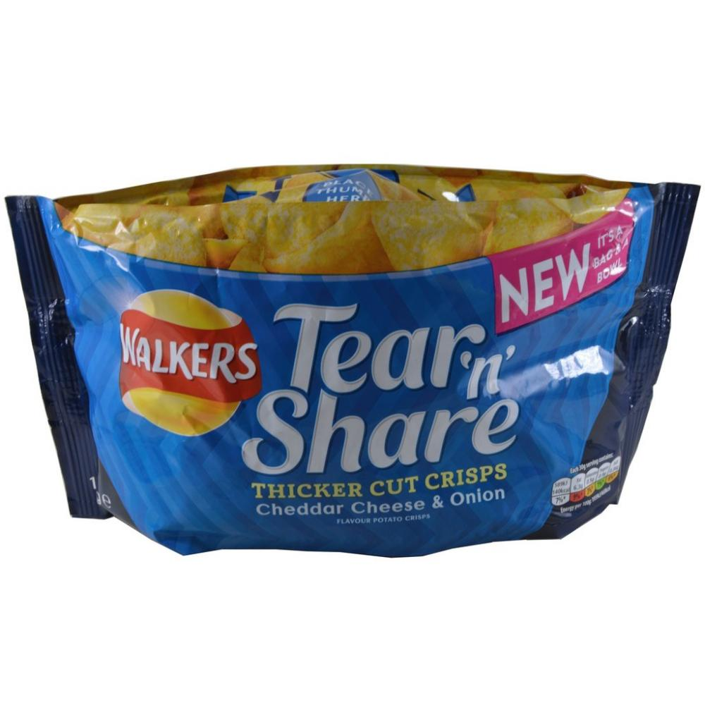 Walkers Tear n Share Cheddar Cheese And Onion 150g