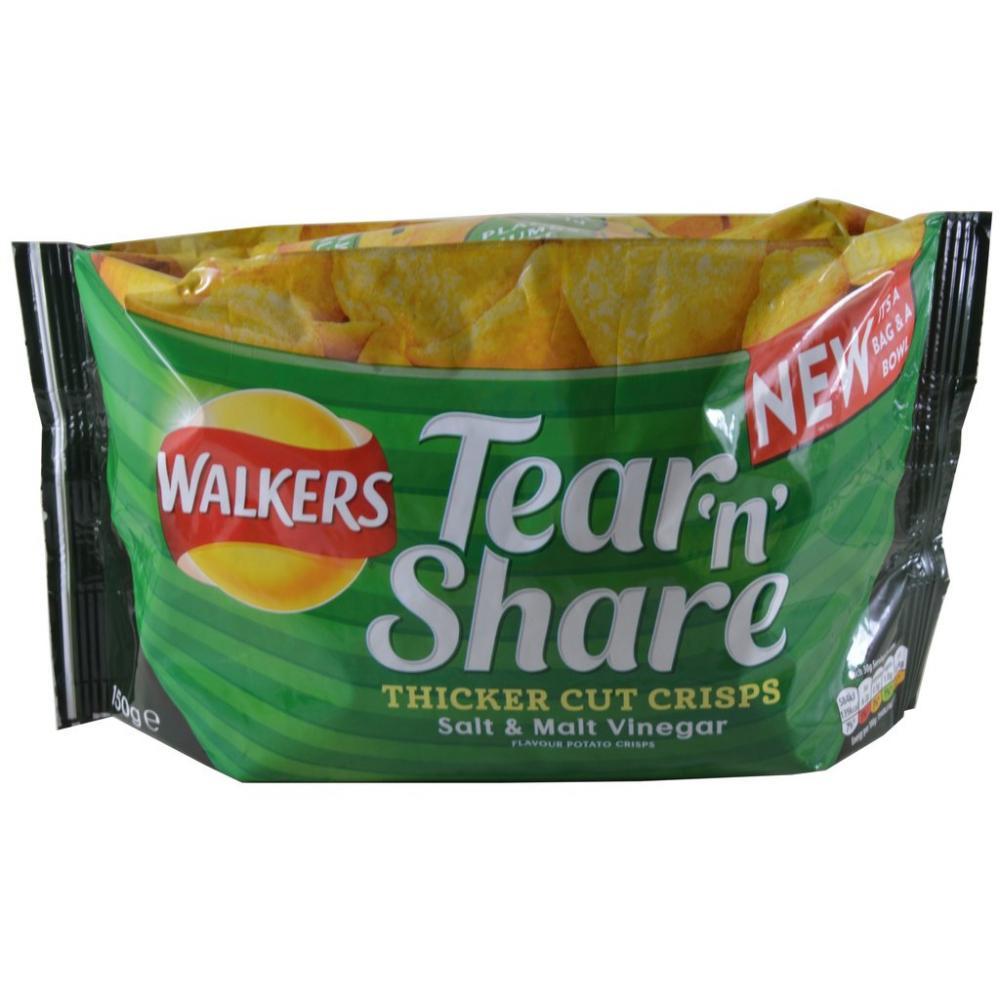 Walkers Tear N Share Salt And Malt Vinegar 150g