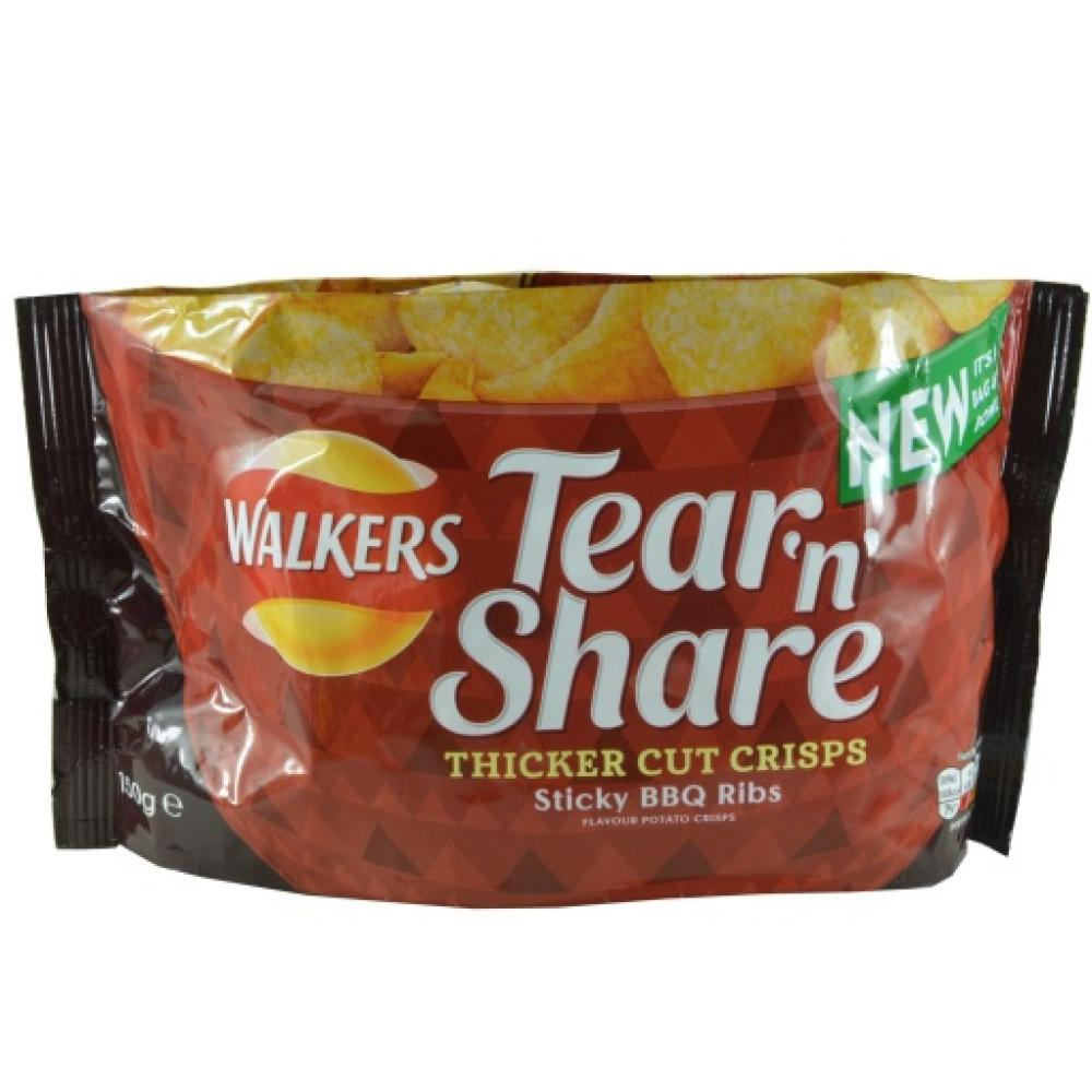 Walkers Tear N Share Sticky BBQ Ribs 150g