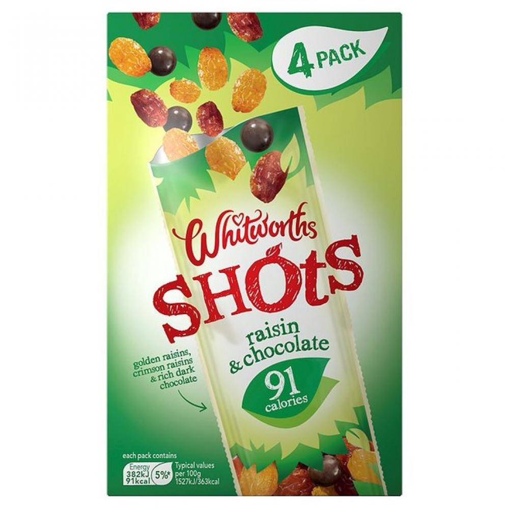 Whitworths Raisin and Chocolate Shots 25g x 4