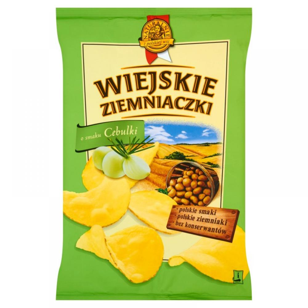 Wiejskie Ziemniaczki Potato Chips with Onion Flavour 130g
