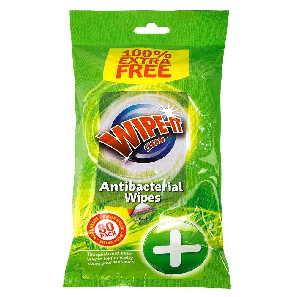 Wipe It Clean Antibacterial Wipes 80 pack
