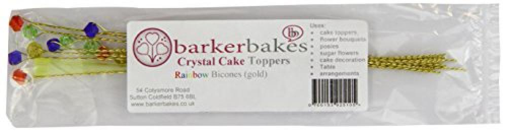 Barker Bakes Crystal Cake Toppers Gold Wires Rainbow Mix Glass