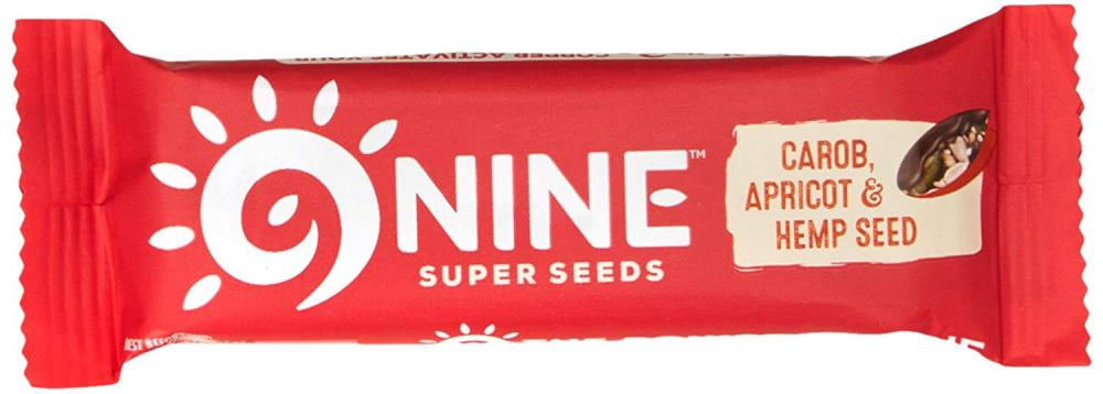 9Nine Super Seeds Carob Apricot and Hemp Seed Bar 40g