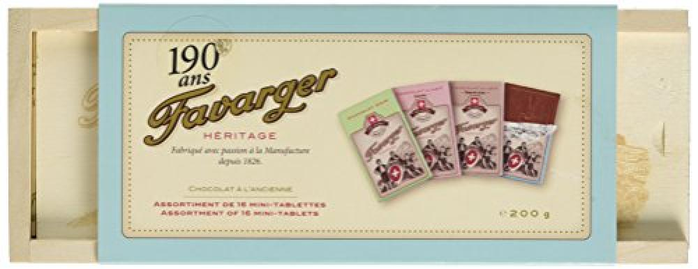 Favarger Heritage 16 Mini Chocolate Bars in Pencil Wooden Box 200g