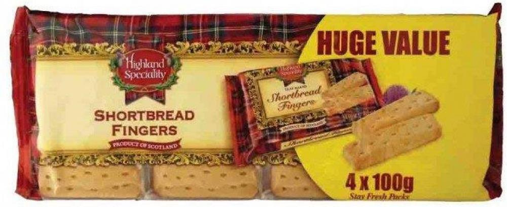 Highland Speciality Shortbread Fingers 100g x 4