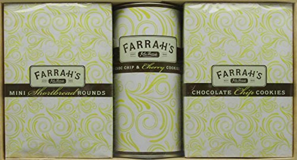 Farrahs Of Harrogate Gift Pack Mini Shortbread Rounds/Chocolate Chip and Cherry Cookie Drum/Mini Chocolate Chip Cookies