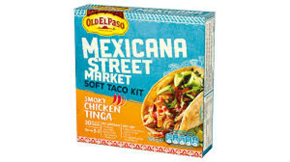 Old El Paso Mexican Street Market Soft Taco Kit Smoky Chicken Tinga 395g