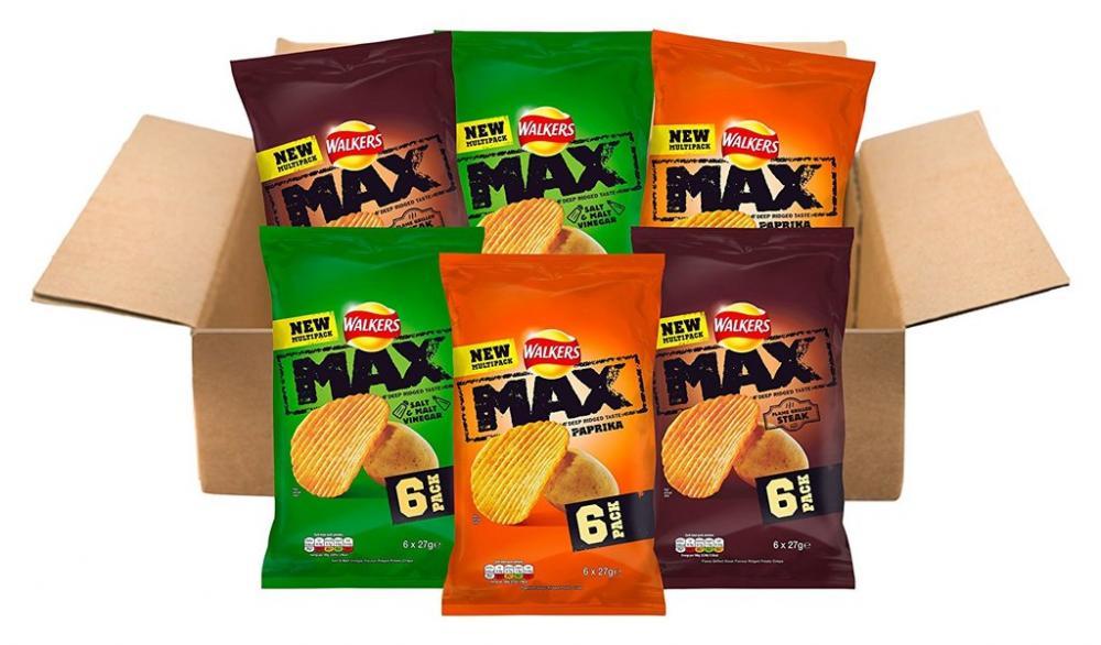 Walkers Max Thick Cut Deep Ridged Potato Crisps LUCKY DIP 6 x 27g