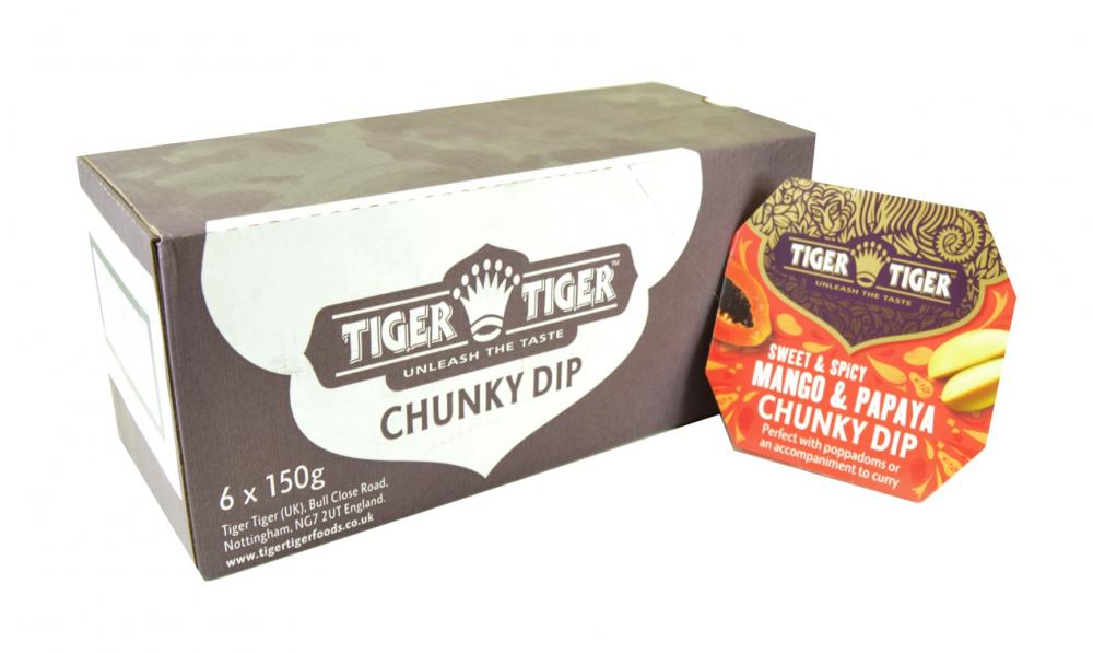 CASE PRICE  Tiger Tiger Sweet and Spicy Mango and Papaya Chunky Dip 6 x 150g