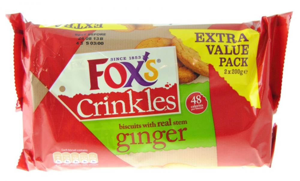 Foxs Ginger Crinkles Extra Value Pack 2 x 200g