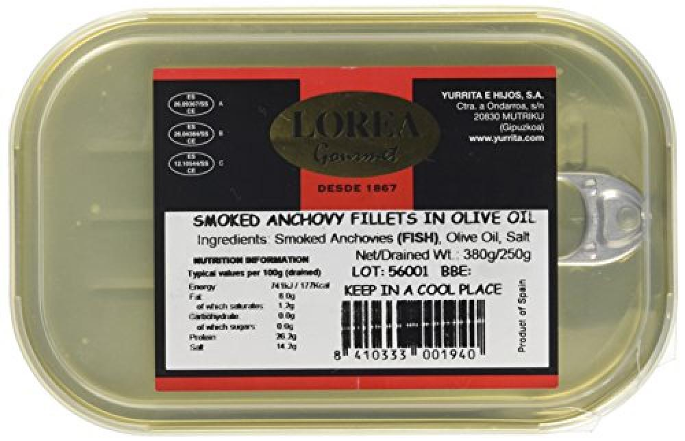 Fresh Olive Smoked Anchovy Fillets in Oil 380g