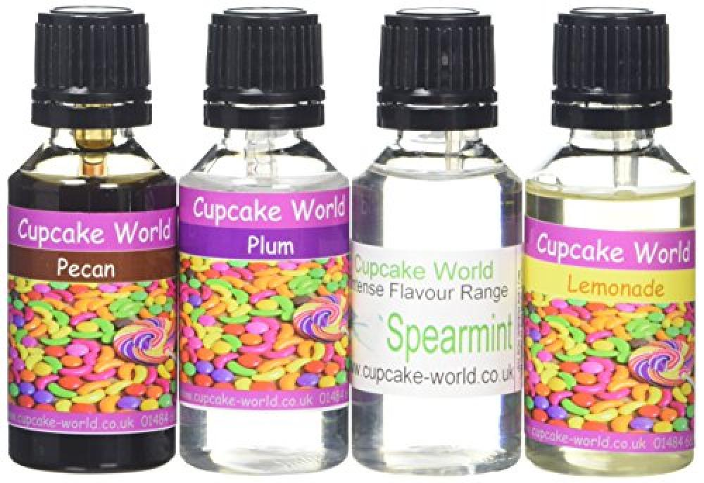 Cupcake World LemonadePecanSpearmintPlum Food Flavouring Bottles 28.5 ml (Pack of 4)
