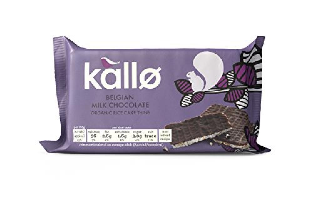 Kallo Belgian Milk Chocolate Organic Rice Cake Thins 90g