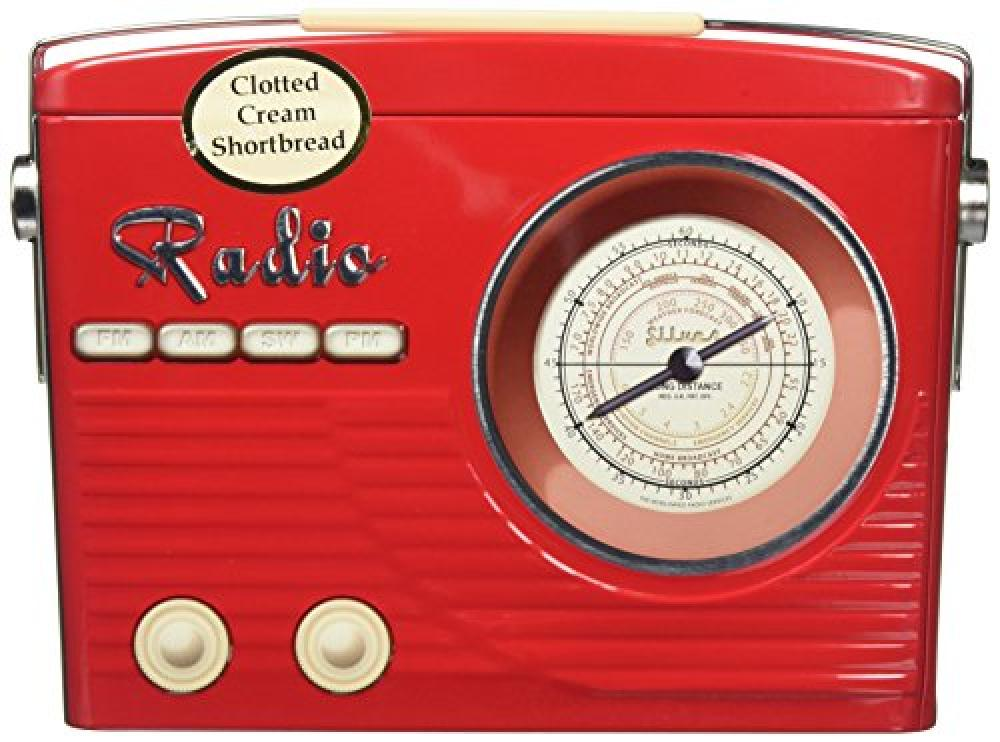 Bramble Foods Clotted Cream Shortbread in Red Retro Radio Tin 200g