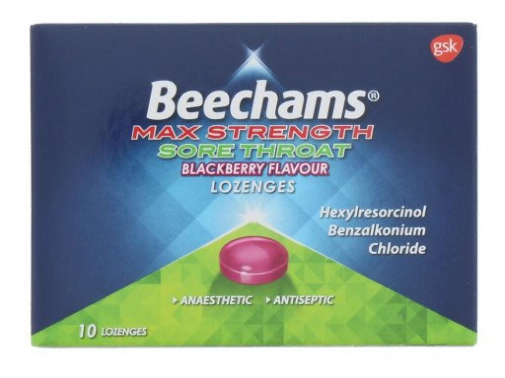 Beechams Max Strength Sore Throat Blackberry Flavour Lozenges 10 pack