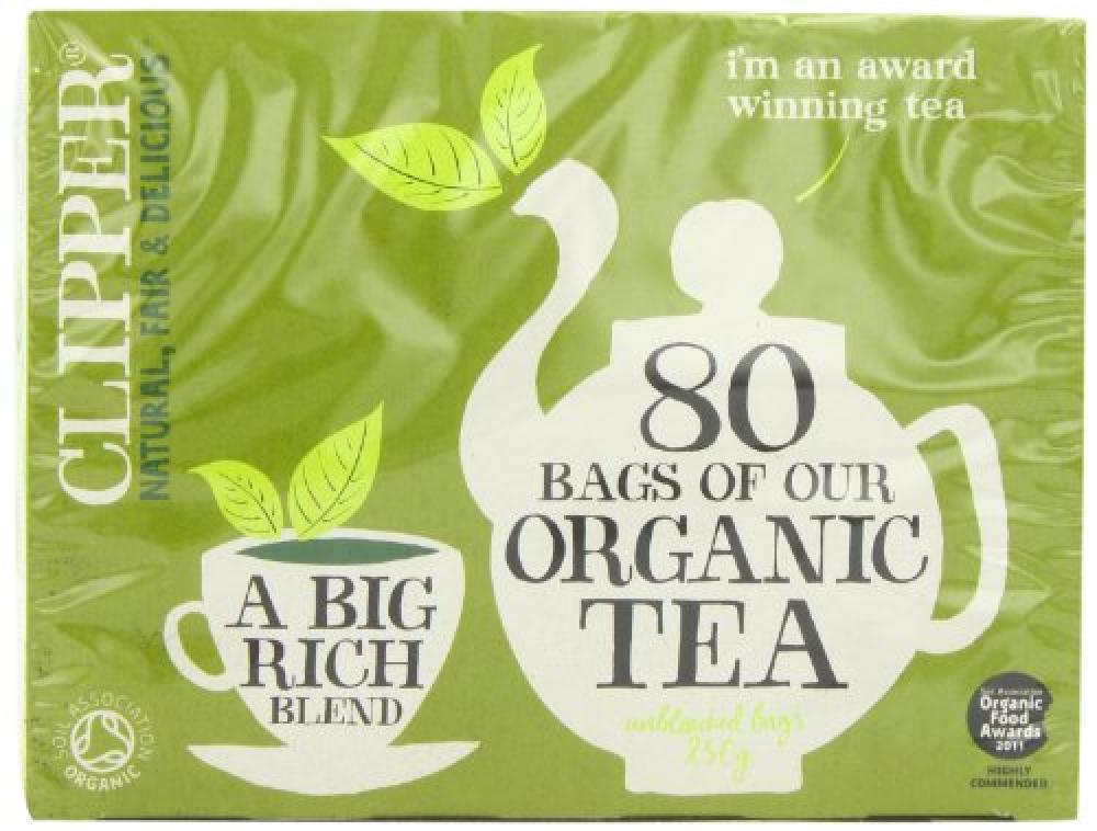 Clipper 80 Bags of Organic Tea A Big Rich Blend 250g