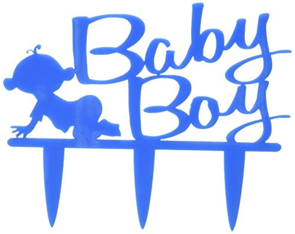 Holly Cupcakes Baby Boy - Acrylic Cake Topper in Baby Blue